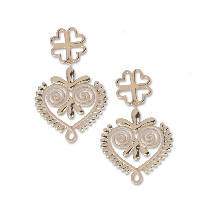 Rose Golden heart earrings small