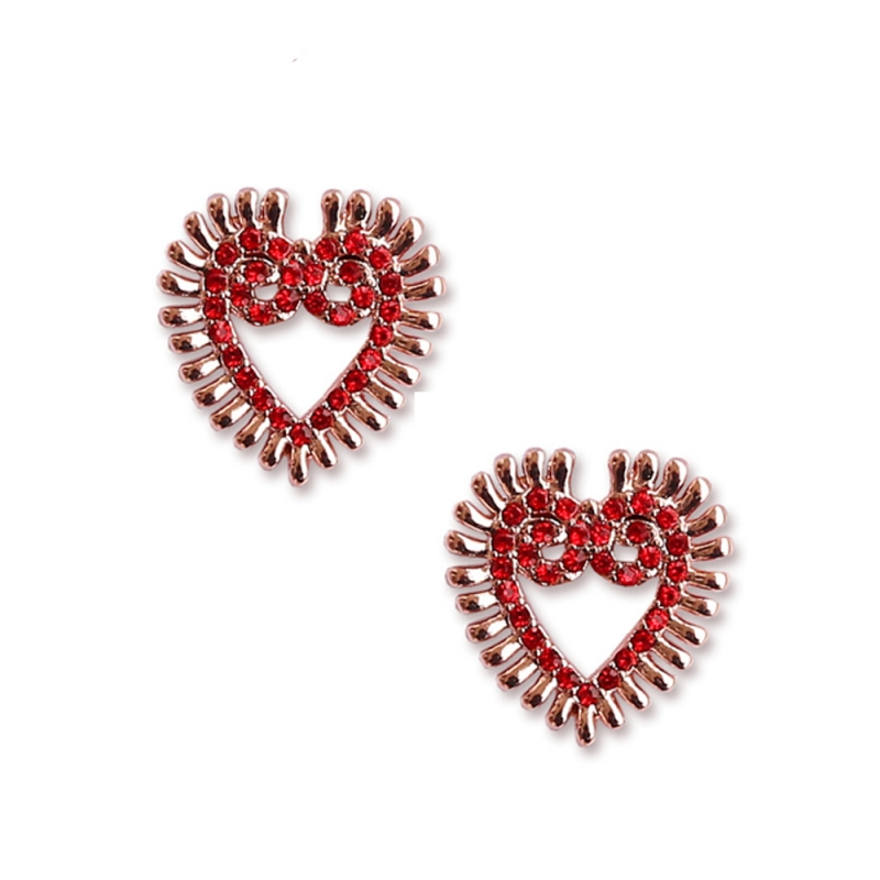 Red crystal small heart stud earrings