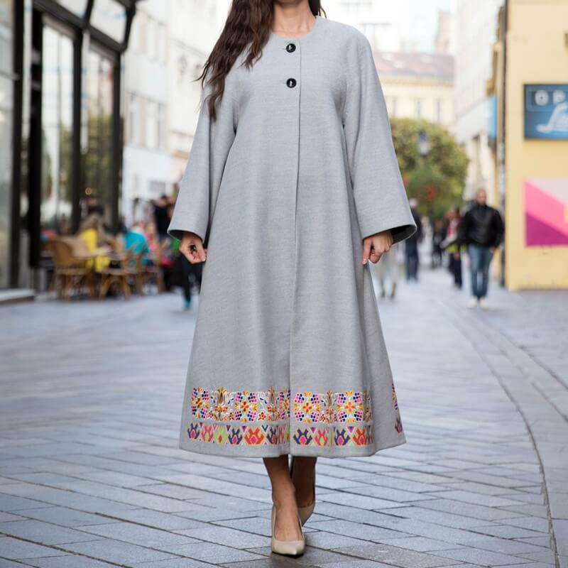 Grey embroidered coat