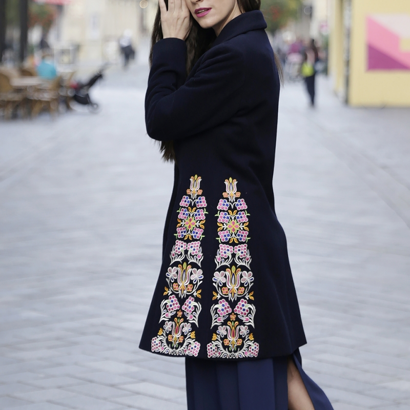 Dark blue embroidered coat
