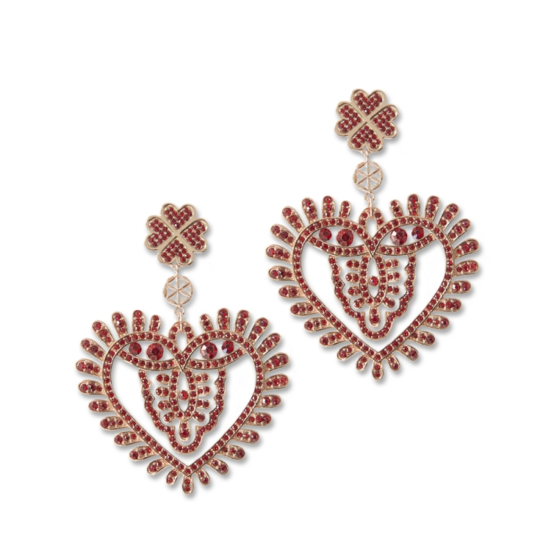 Earrings red hearts