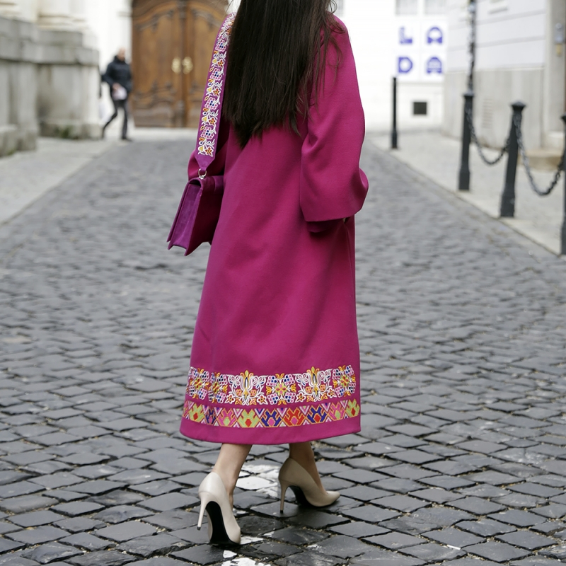 Pink embroidered coat