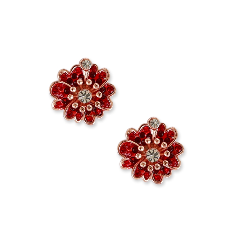 Red earrings flowers with a leaf